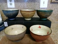 four brown-and-white ceramic bowls Silver Spring