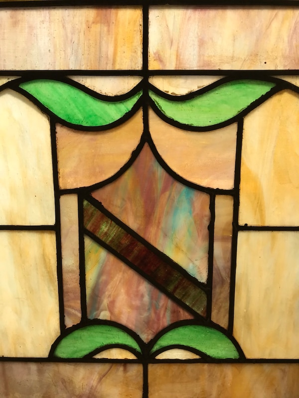 Early 1900's double hung stained glass panel 253442dd-29d1-4b05-b3e5-984967ca9ade