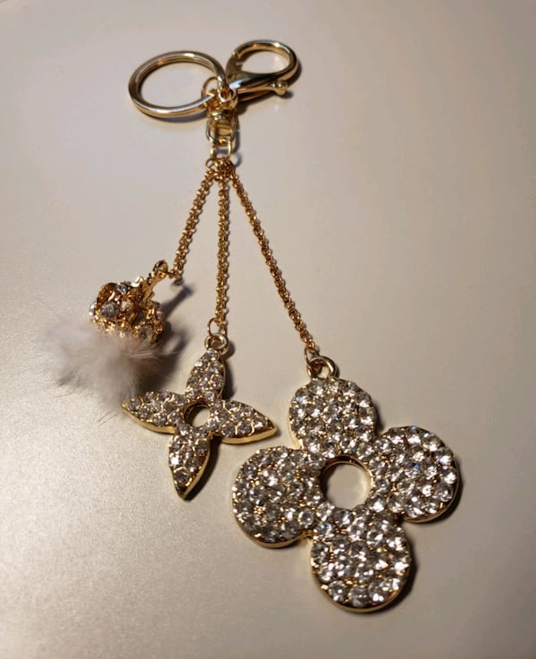 "7"" Goldtone Fur/Rhinestone Fashion Keychain  d88a8722-d7c7-4fbb-97bb-755fb118c672"