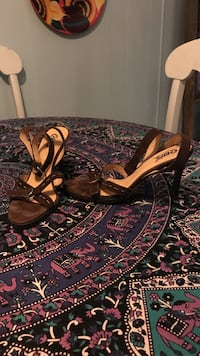 Size 8 brown suede strappy heels Shippenville, 16254