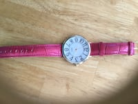 Chicos Gold Tone watch with pink leather strap