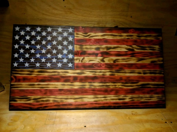 Rustic Wooden American Flag Hand Made