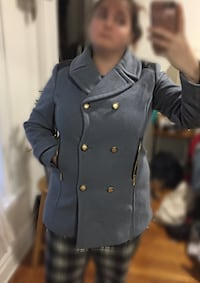 Women's Blue Double-Breasted Pea Coat New York, 11215