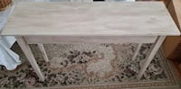 Antique Distressed Table, Great condition, Dimensions: 46 and a half inches long, 30 inches in height, 11 and a half inches inner width, 14 and a three quarter inches with the top part protruding outwards Fall River