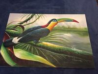 Large colorful toucan painting on stretched canvas Wilmington, 28403
