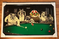 Vintage hard to find print Dogs Playing Pool framed picture Lincolnwood