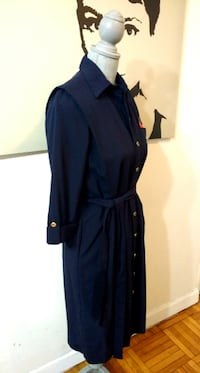 (Brand New) With Tags -Navy Sash Button-Front Dress / Long Duster Toronto