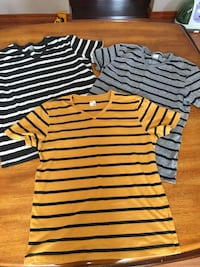 three assorted-color stripe v-neck t-shirts Barrie, L4N 9E8