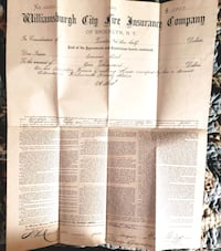 1883 Williamsburgh (Brooyklyn NY) Fire Insurance Company Policy $1000