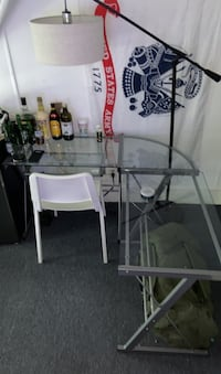 L shaped glass table