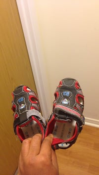 Toddler's black-and-red shoes. Nice pair of shoes for 9-15 months old toddler. Halifax, B3M 4J7