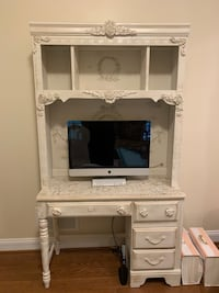 Cream & gold distressed shabby chic  office wall desk with light