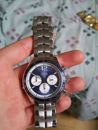 round silver-colored chronograph watch with link bracelet Laval, H2B