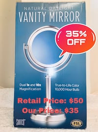 Vanity Mirror Natural Daylight 10,000 Hour Bulb and 10x Magnification Sterling, 20166