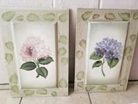 pink and purple flowers painting with brown frame