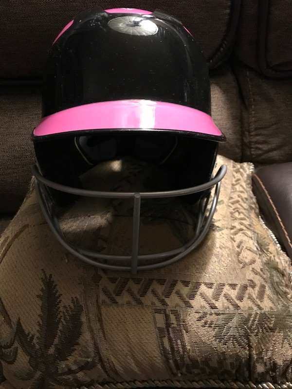 Black and pink baseball helmet
