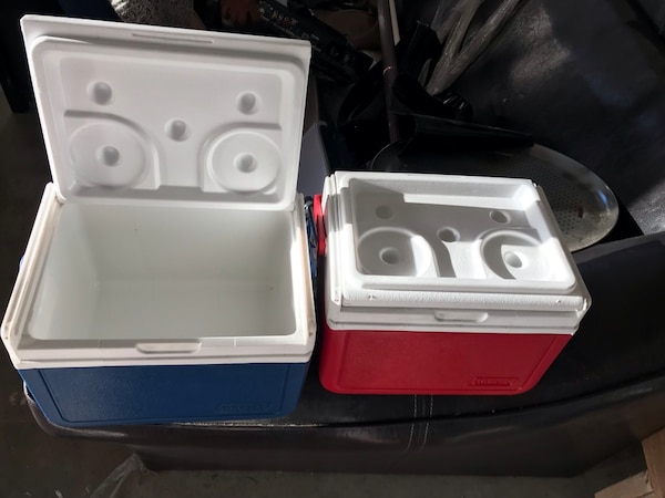 white and red plastic container
