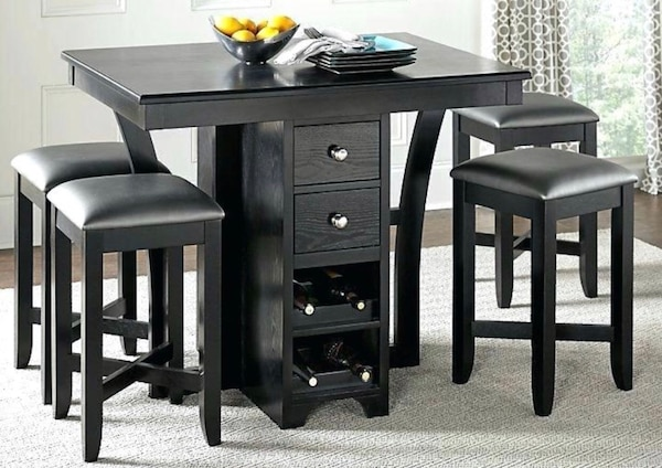 Pub Style Dining Table With 4 Stools Built In Wine Rack