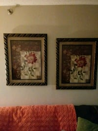 two black wooden framed painting of flowers Bronx, 10452
