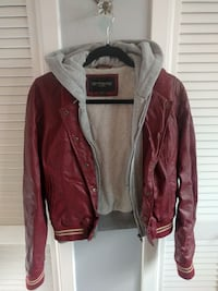 Obey propaganda leather jacket with hoodie