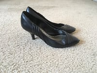 BCBG Black Leather Heels(Size 7) Silver Spring