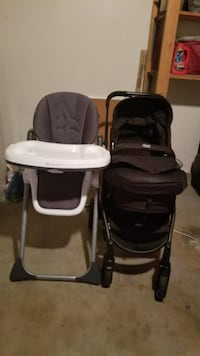 Baby's black and gray stroller and high chair Glendale, 91205