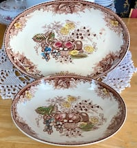 Vintage Brown and White Transferware 2 pc. Platter and Bowl Made in Japan Kansas City, 64118