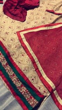 Red and beige shalwar kamez  18 mi