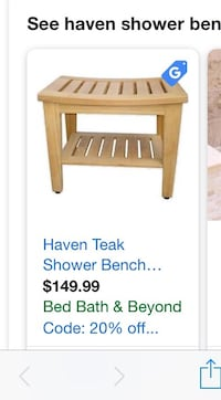 Haven Teak Shower Bench Orlando, 32803