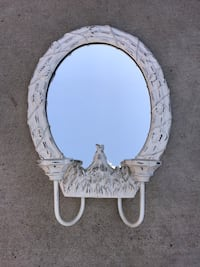 White Oval Mirror Rooster and Ivy Motif with Candle Stands  San Juan Capistrano, 92675