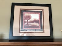 brown tree painting with black frame