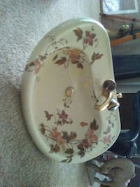 white, brown, and pink ceramic floral sink Springfield, 65804