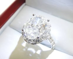 4.26ct Oval-shaped Diamond Engagement Ring in 18K White Gold