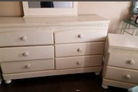 White wooden 6-drawer dresser with matching night table Montréal, H8N 2X6