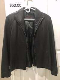 Medium size women's leather jacket. Owner does not smoke. Worn only 3 times was kept in the closet. Cash only. Also, please see other items for sale. Gaithersburg, 20878