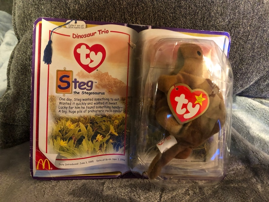 Photo Ty Beanie McDonalds Dinosaur Steg the Stegosaurus 1994 RARE TAG ERRORS