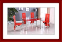 Red glass dinning table set Baltimore, 21209
