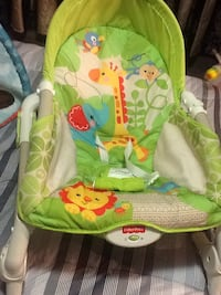 baby's green and white Fisher-Price bouncer Mississauga, L4T 2P7