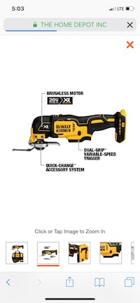 Multi tool dewalt xr brushless Bare tool  305 mi
