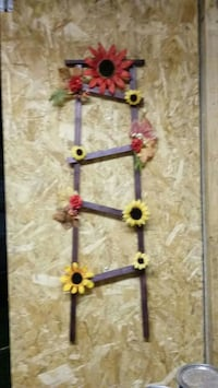 brown wooden floral decorated ladder ornament 70 km