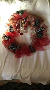 red, green and gold homemade wreath Esparto, 95627