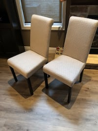 two brown wooden framed white padded chairs Kitchener, N2N 3R3