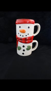 Hallmark Christmas Holiday Set of 2 Frosty the Snowman Stackable Coffee Mugs San Diego, 92121