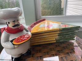 6 ceramic pizza plates and cheese shaker man