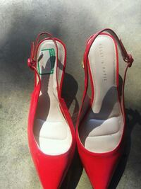 pair of red leather peep-toe heeled sandals Modesto, 95350