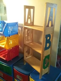 Red blue yellow green PLASTIC BINS & WOOD SHELF bundle
