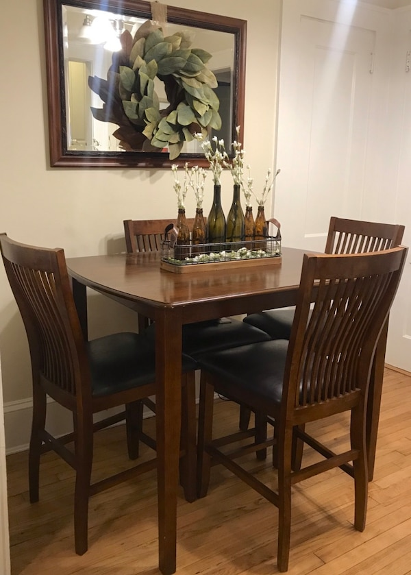 Used Wood Dining Table And Chairs High Top 4 Set Ashley Furniture