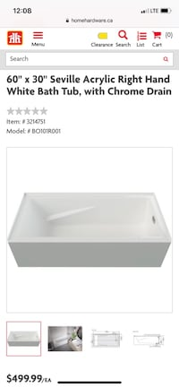 "Mirolin 60"" Seville Right Hand Tub"