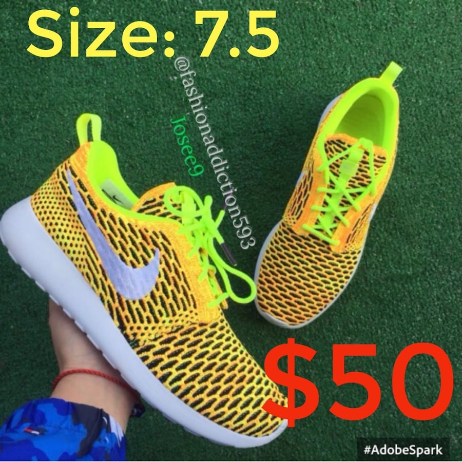Nike Women's Roshe yellow green white sneakers shoes