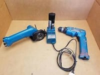 blue and black cordless hand drill with blue case
